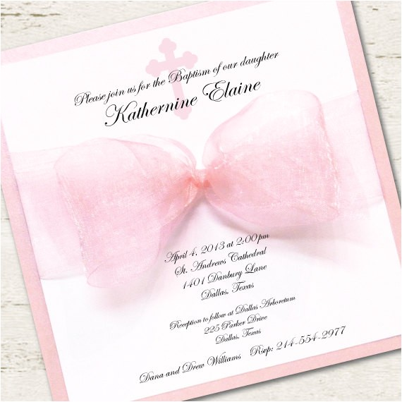 girl baptism invitation christening pink
