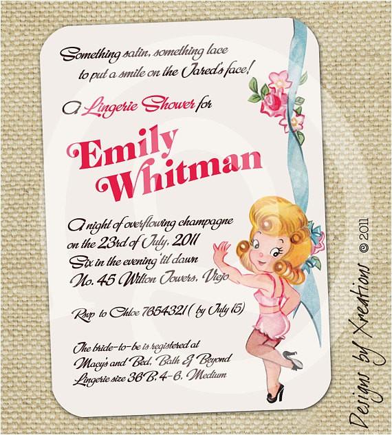 cute lingerie bridal shower invitation