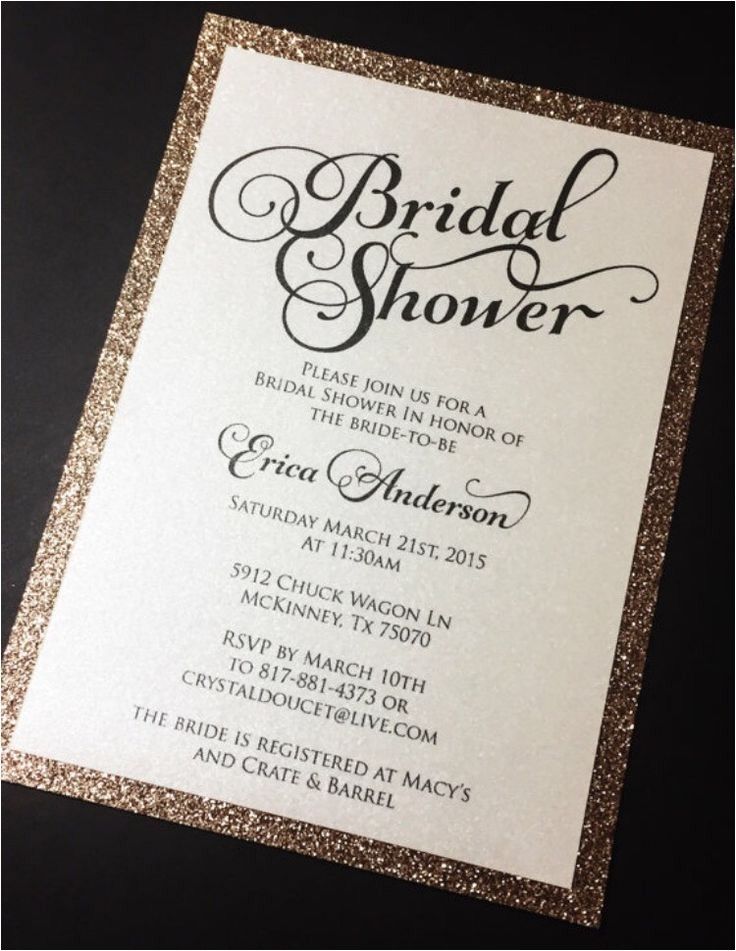 bridal shower wording t card