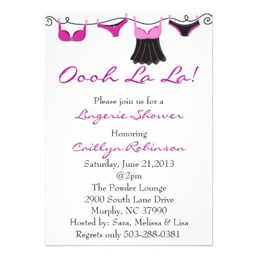 cute bra lingerie bridal shower invitation