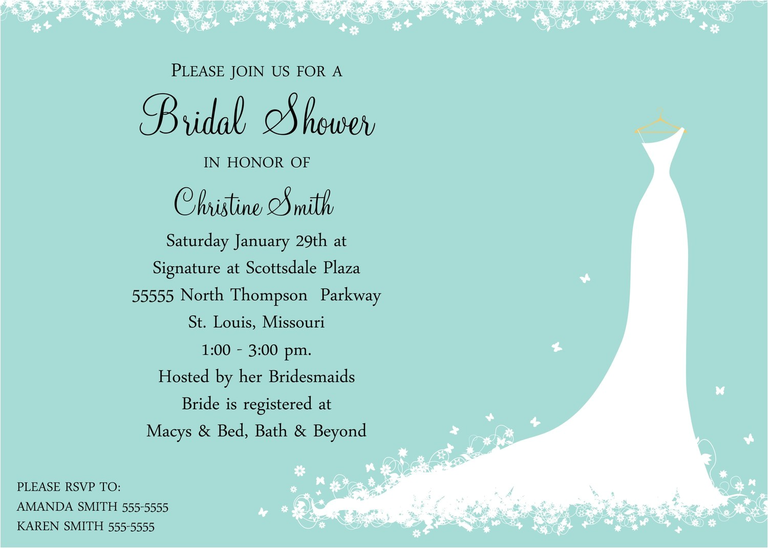 bridal shower invitations wording for