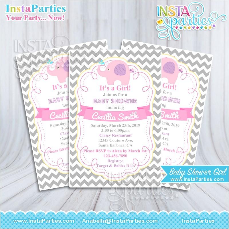 baby shower invitations girl elephant pink invitation gray invites digital printable file 4x6 elephants cutest cute ever