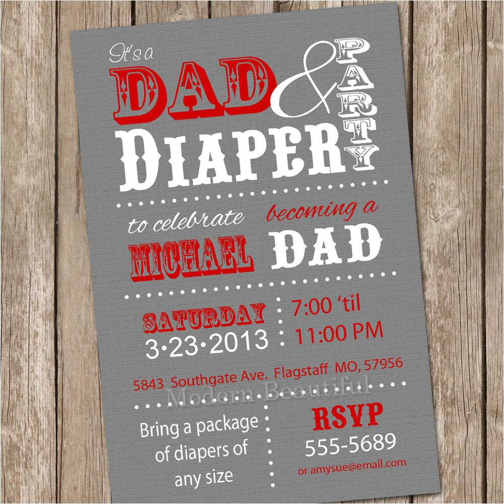 dad baby shower invitation diaper baby