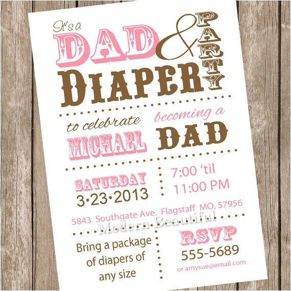 dad diaper baby shower invitation diaper