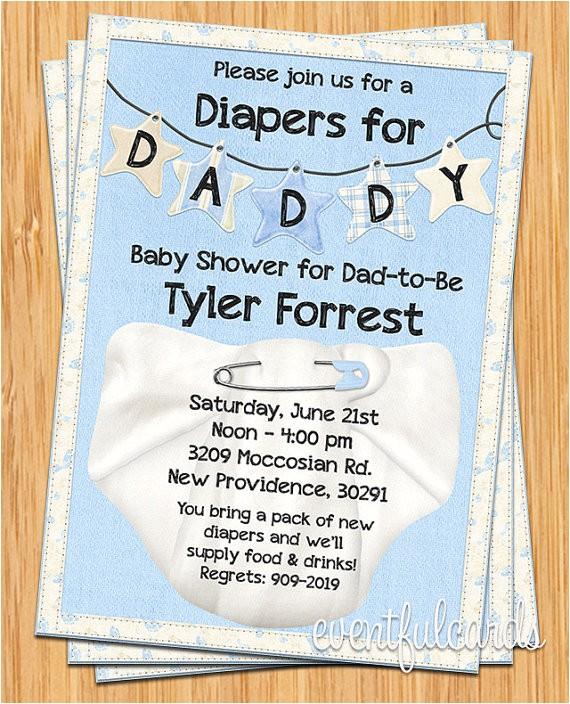 diapers daddy baby shower invitation