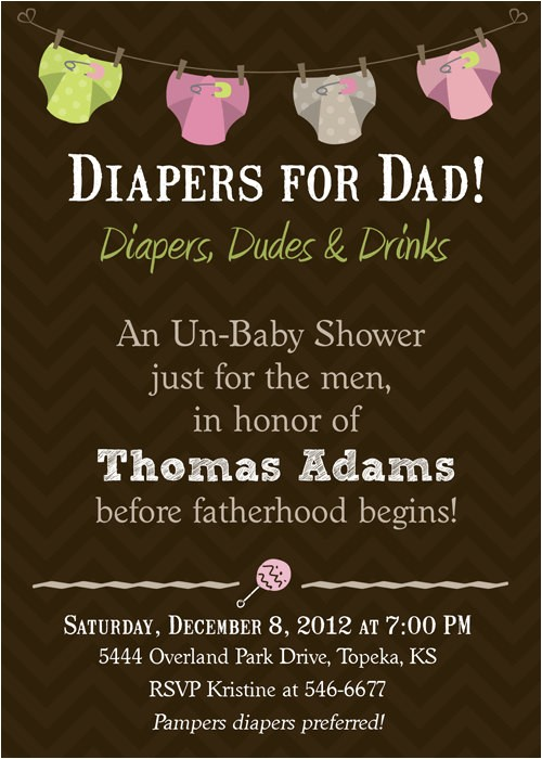 diapers for daddy baby shower invitation