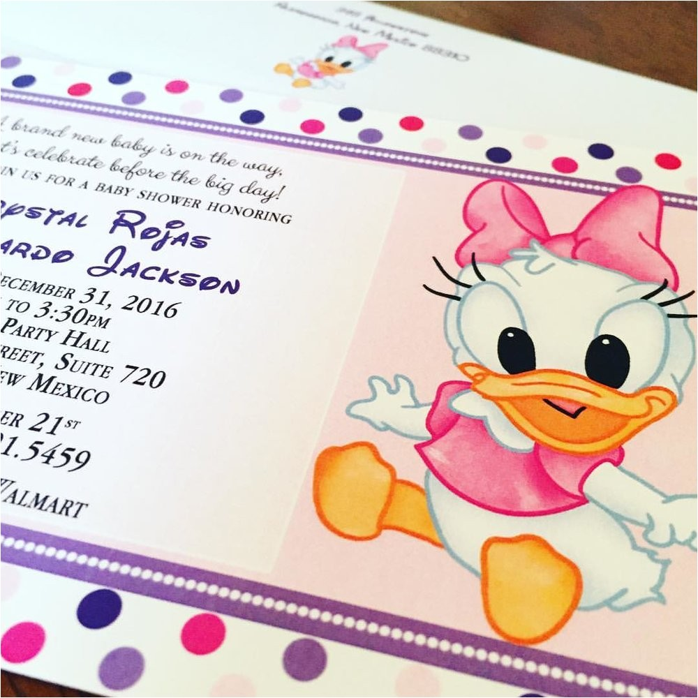 daisy duck baby shower invitations