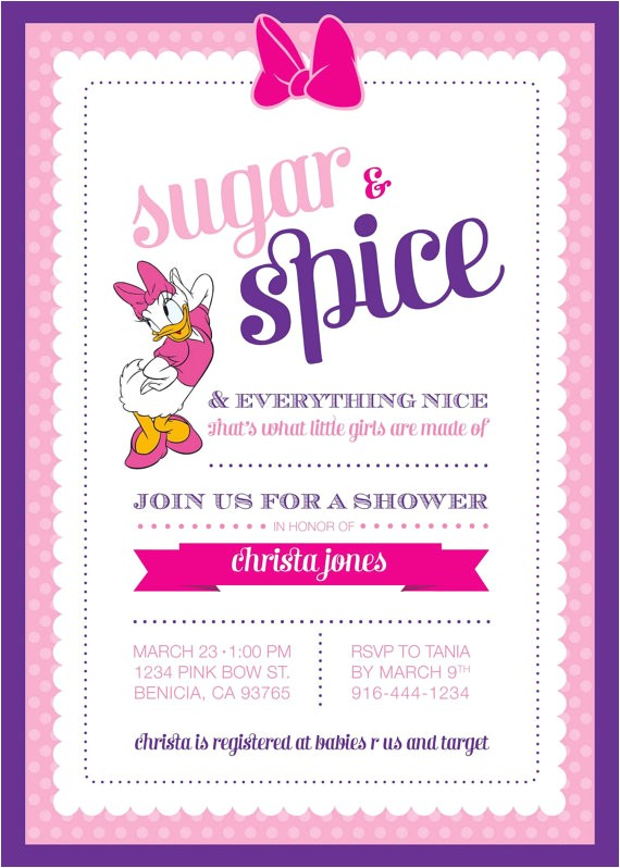daisy duck baby baby shower invitation