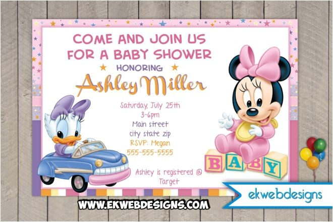 minnie mouse and daisy duck custom baby shower invitation