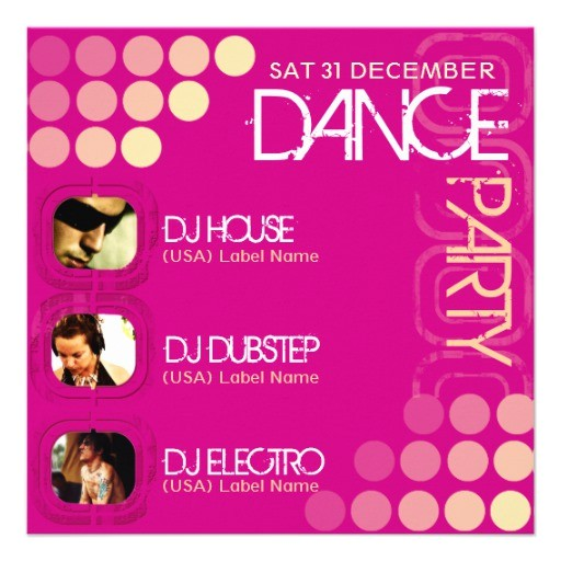pink club dj dance party photo template invitation