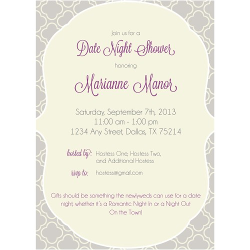 date night wedding shower invitation