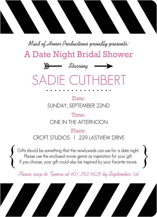 Date Night themed Bridal Shower Invitations Movie themed Date Night Bridal Shower Invitation by
