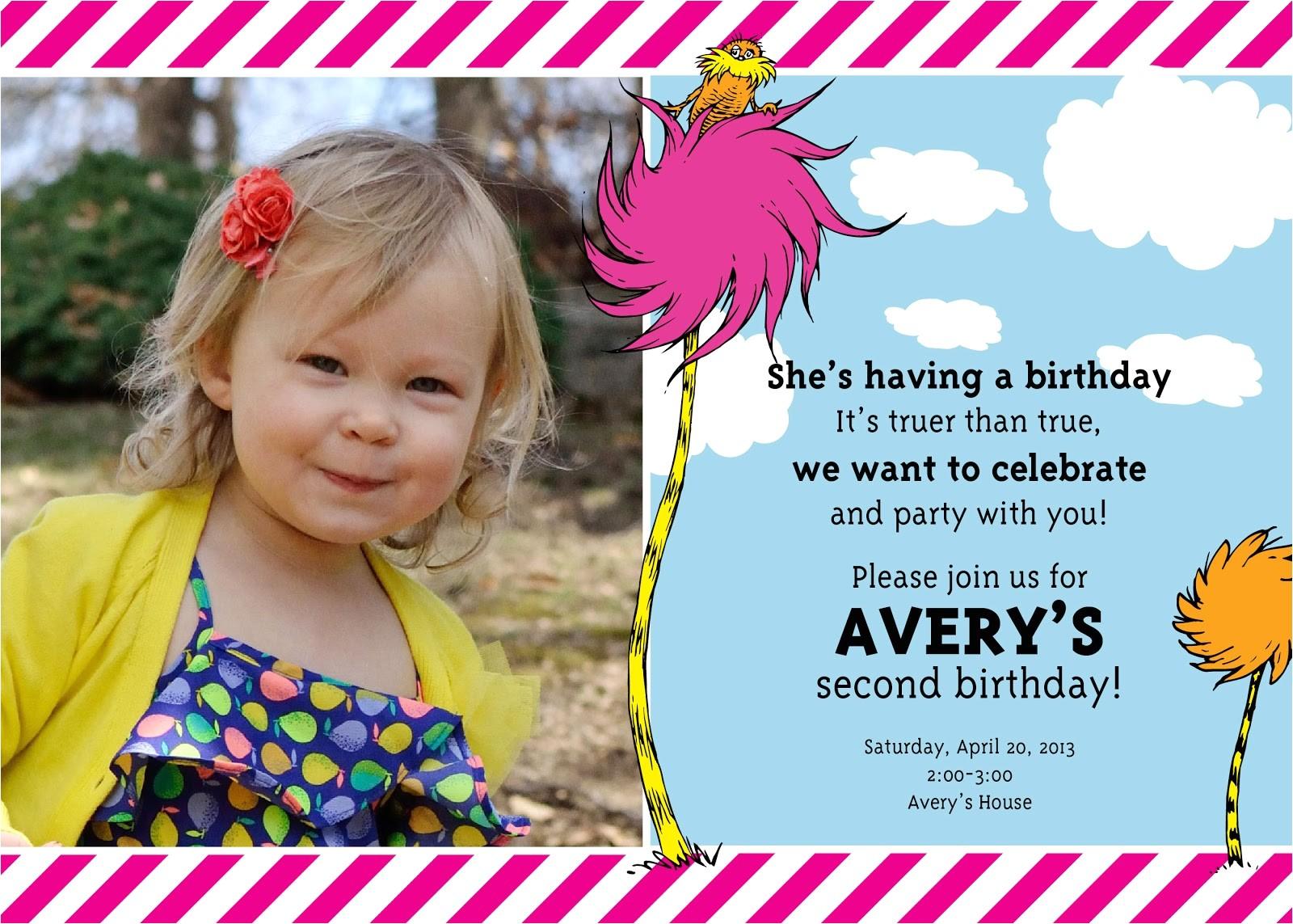 averys 2nd birthdaya lorax party
