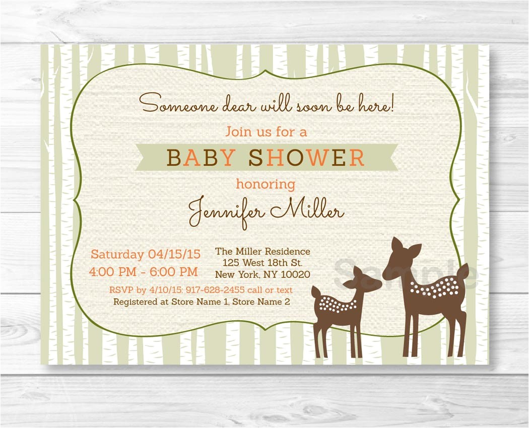 cute woodland deer baby shower