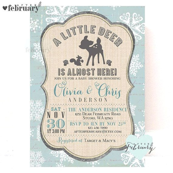 deer baby shower invitations