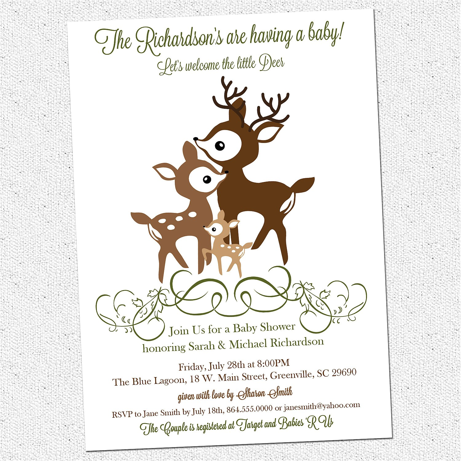 printable deer family baby shower