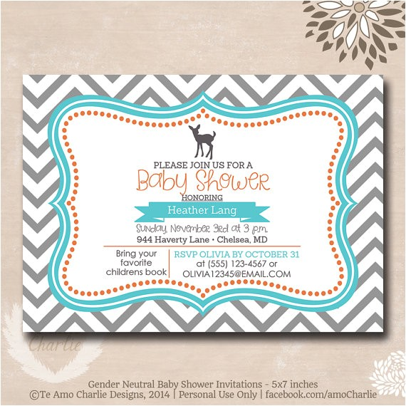 deer theme baby shower invitations