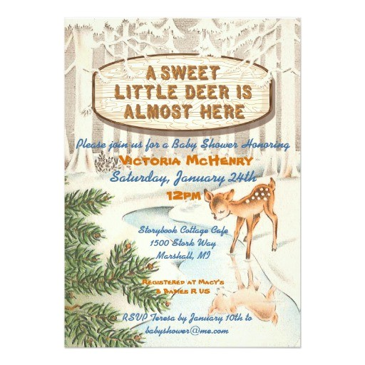 vintage baby shower winter woodland deer invites