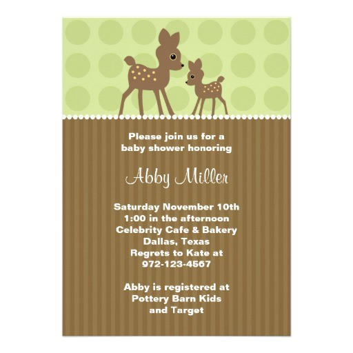 woodland deer baby shower invitations