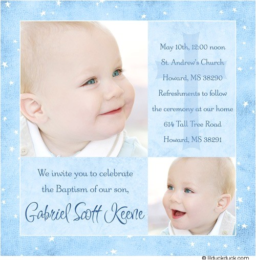 blue modern photo baptism invitation