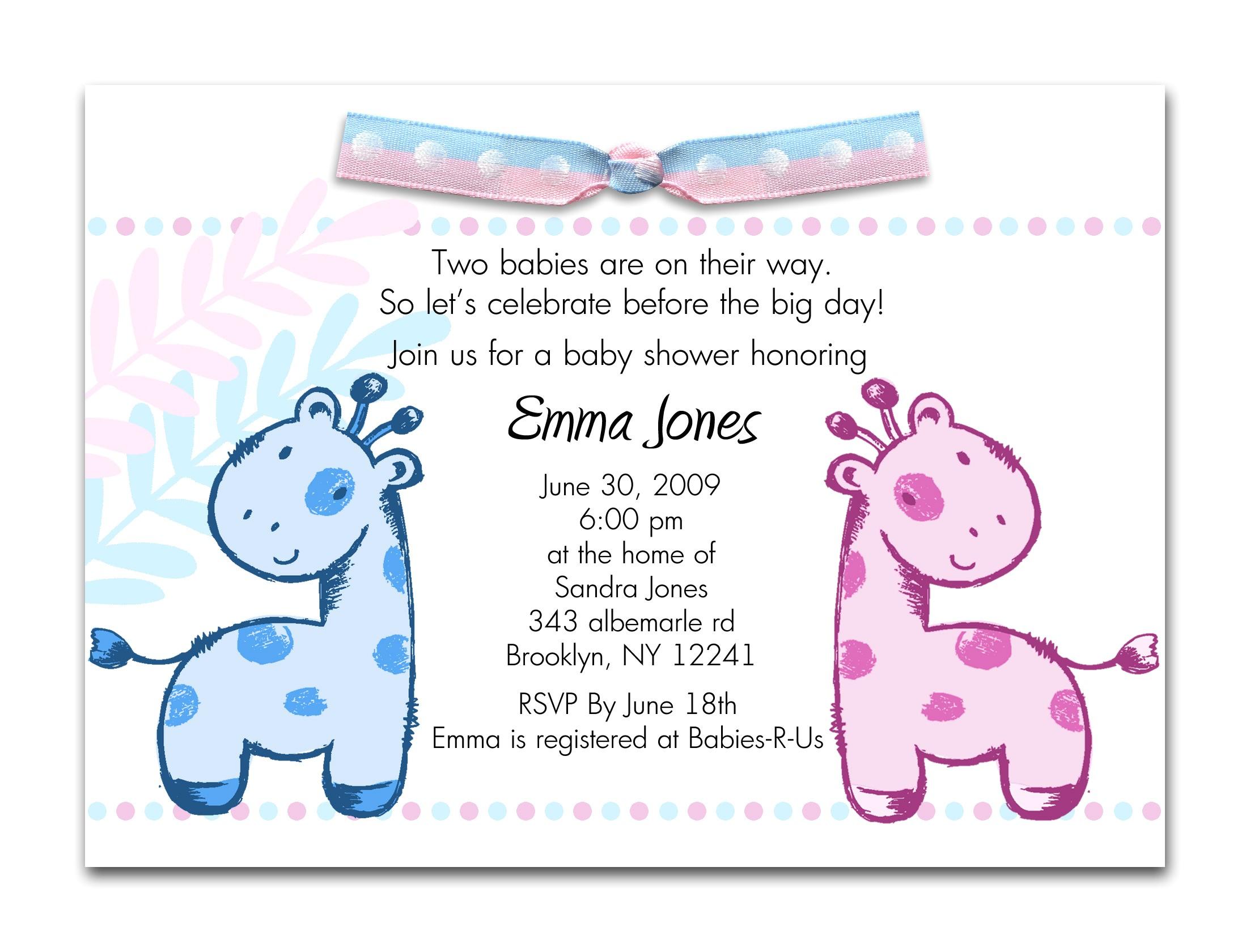baby shower twin invitations