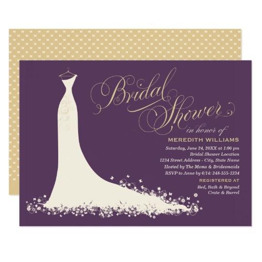 bridal shower invitation elegant wedding gown 161810132924015534