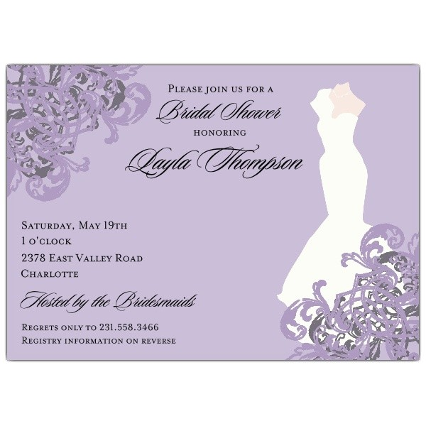 elegant gown lilac bridal shower invitations p 603 75 235