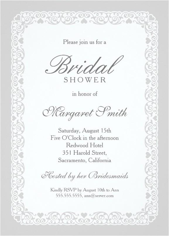 elegant silver grey bridal shower invitations
