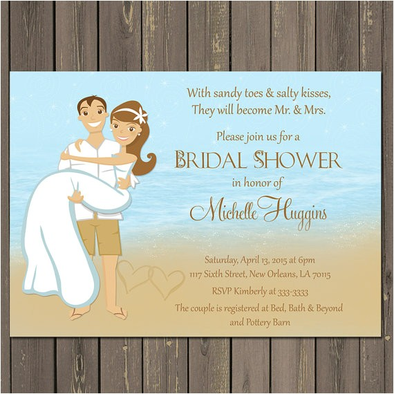 beach couple shower bridal shower invitation