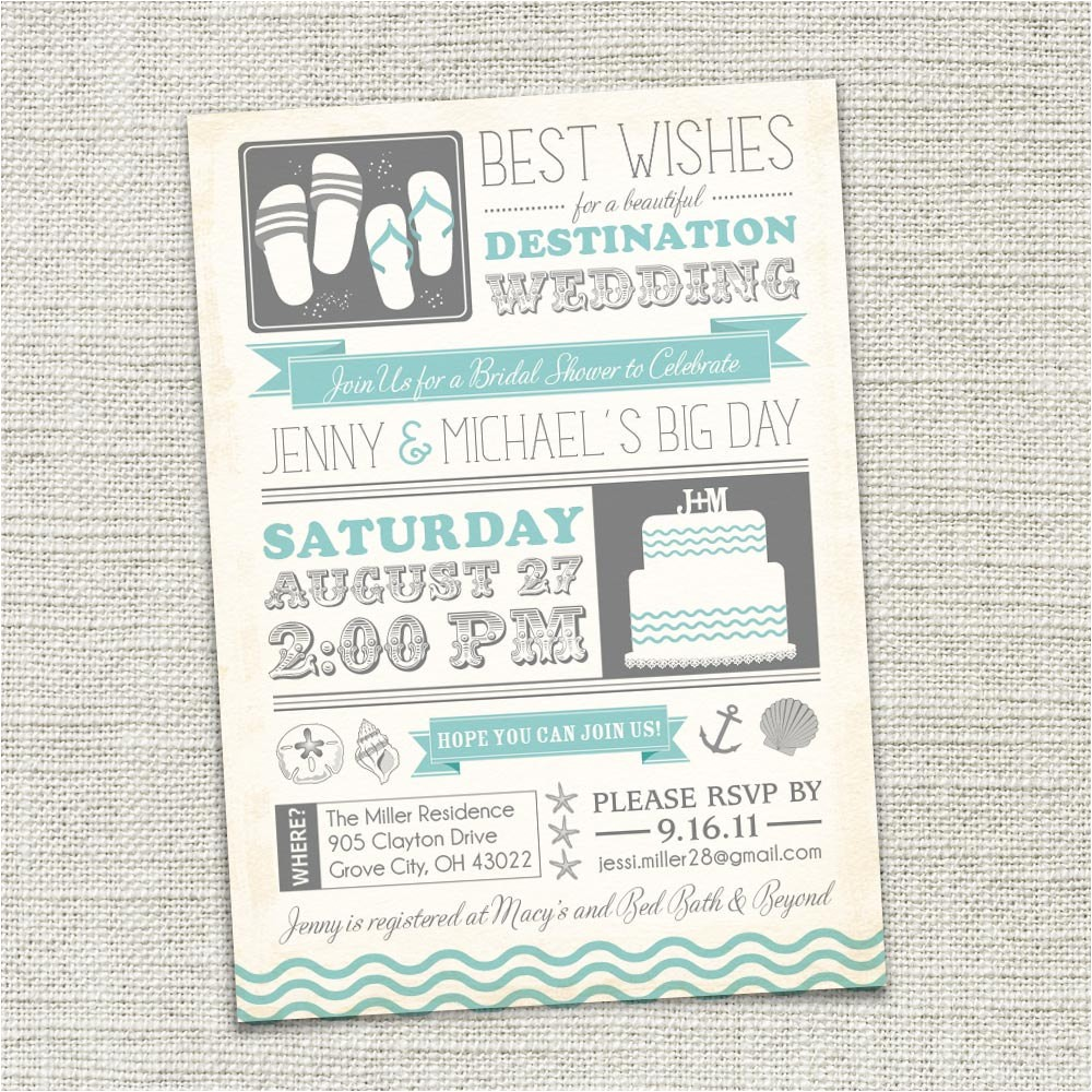 bridal shower invitation beach