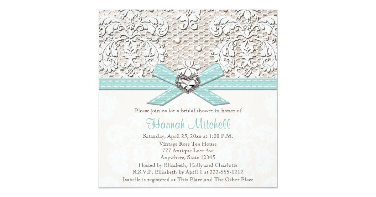 Diamond Bridal Shower Invitations Blue Pearl Lace Diamond Bridal Shower Invitations