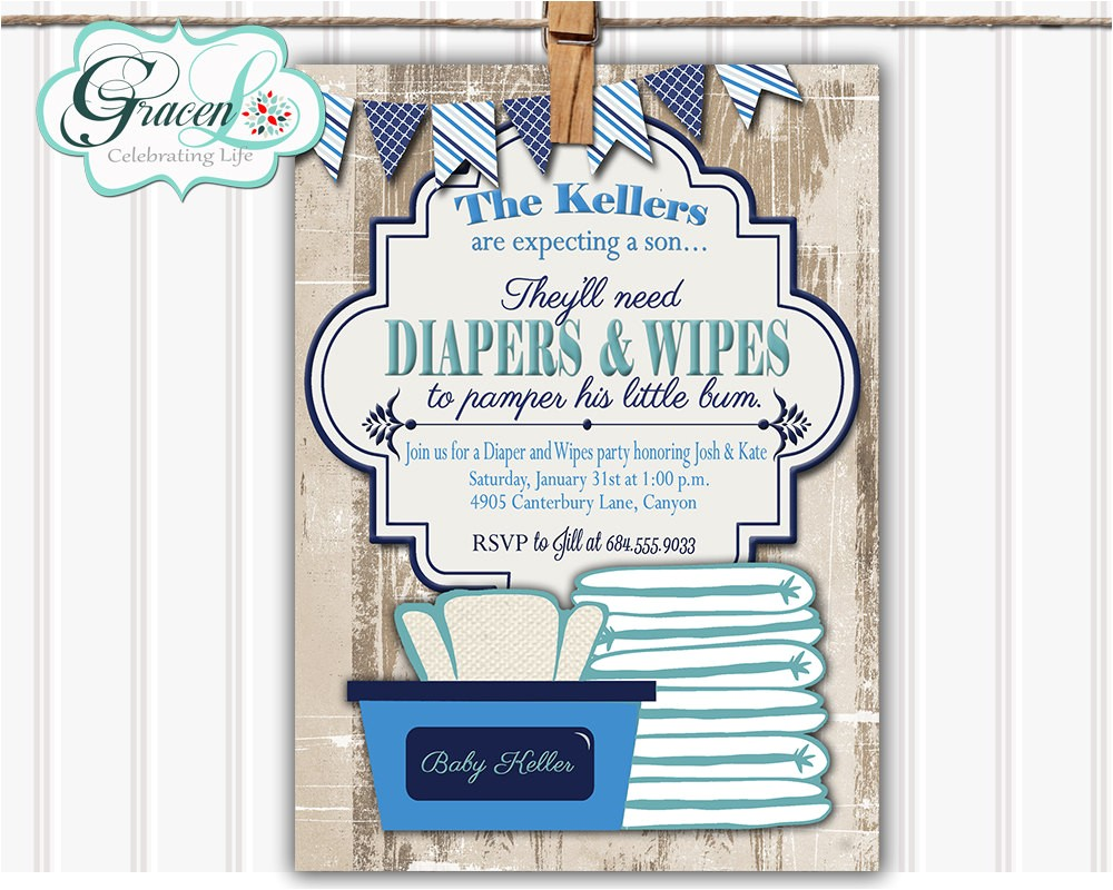 Diaper and Wipes Baby Shower Invitation Wording Baby Shower Invitation Diaper and Wipes Baby Shower