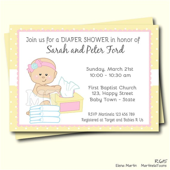 diapers wipes girl baby shower invitation