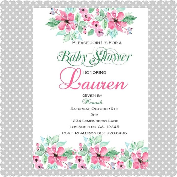 floral baby shower invitations digital
