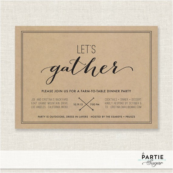 let39s gather dinner party invitation printable