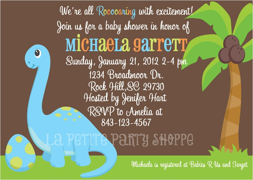 dinosaur baby shower invitations template