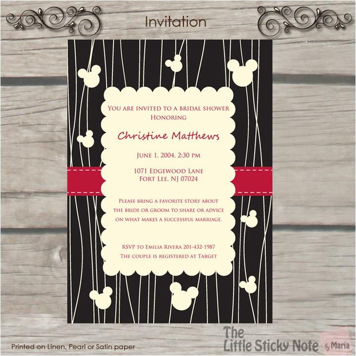 disney themed bridal shower invitations