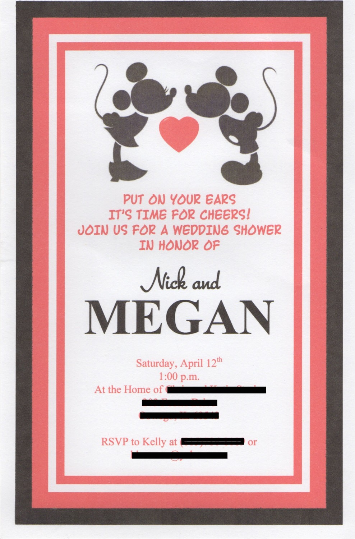 disney themed wedding shower invitation