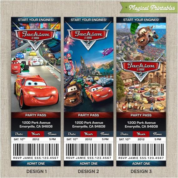 cars2 ticket invitations