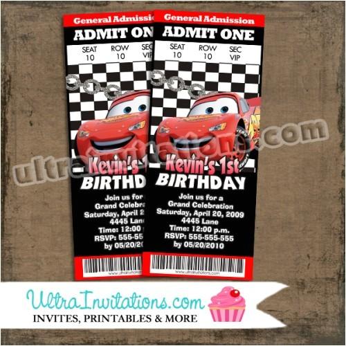 cars birthday party ticket invitations 2