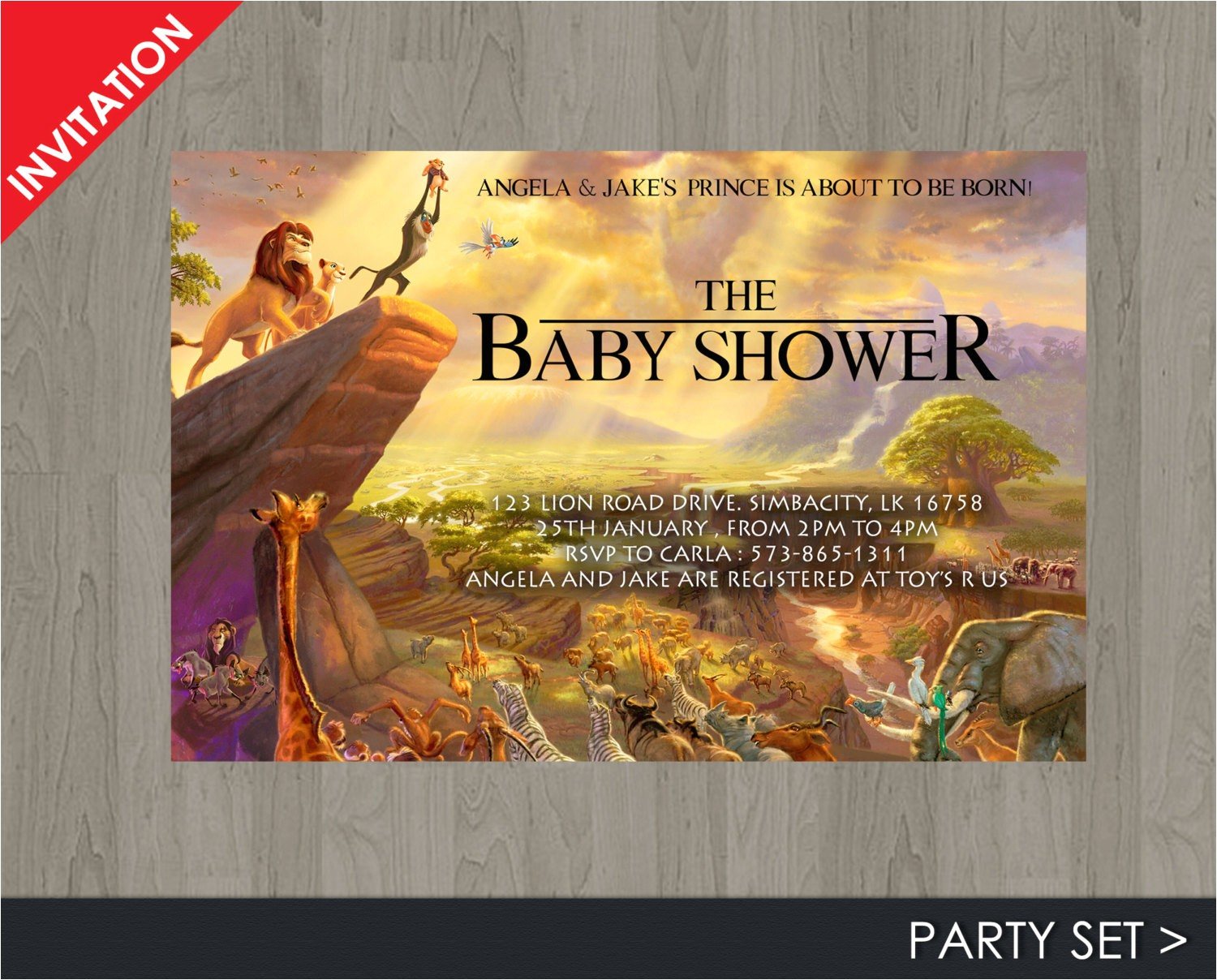lion king baby shower invitation jungle
