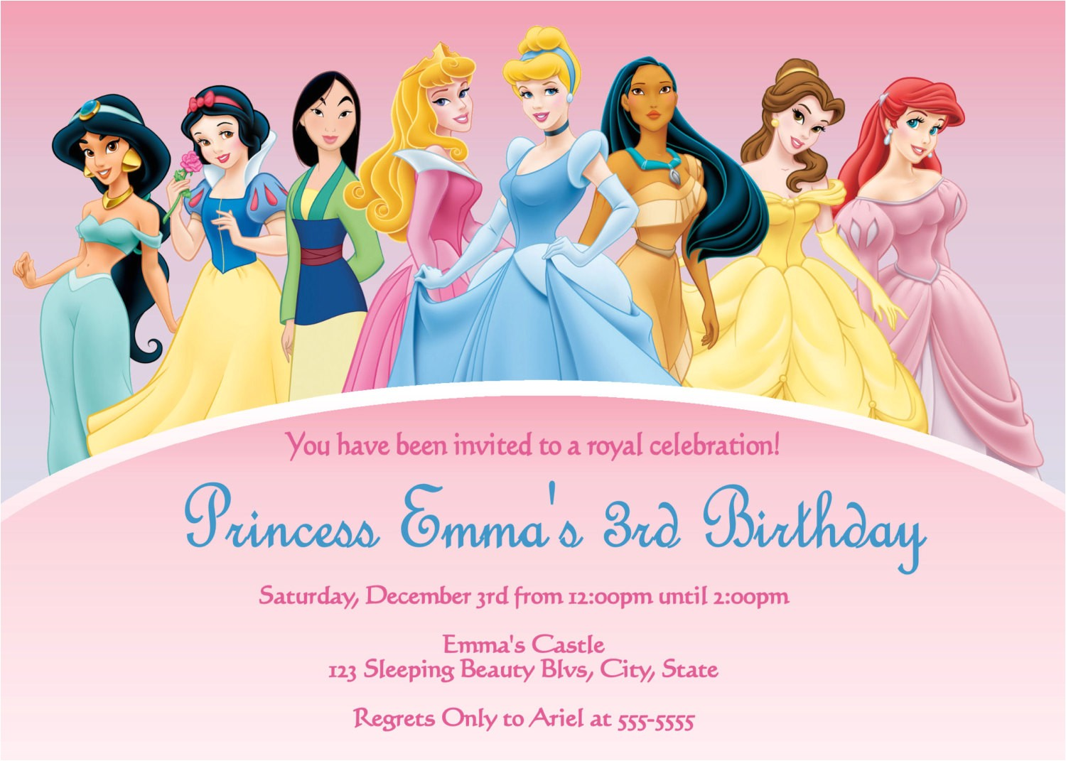 disney princess invitations template