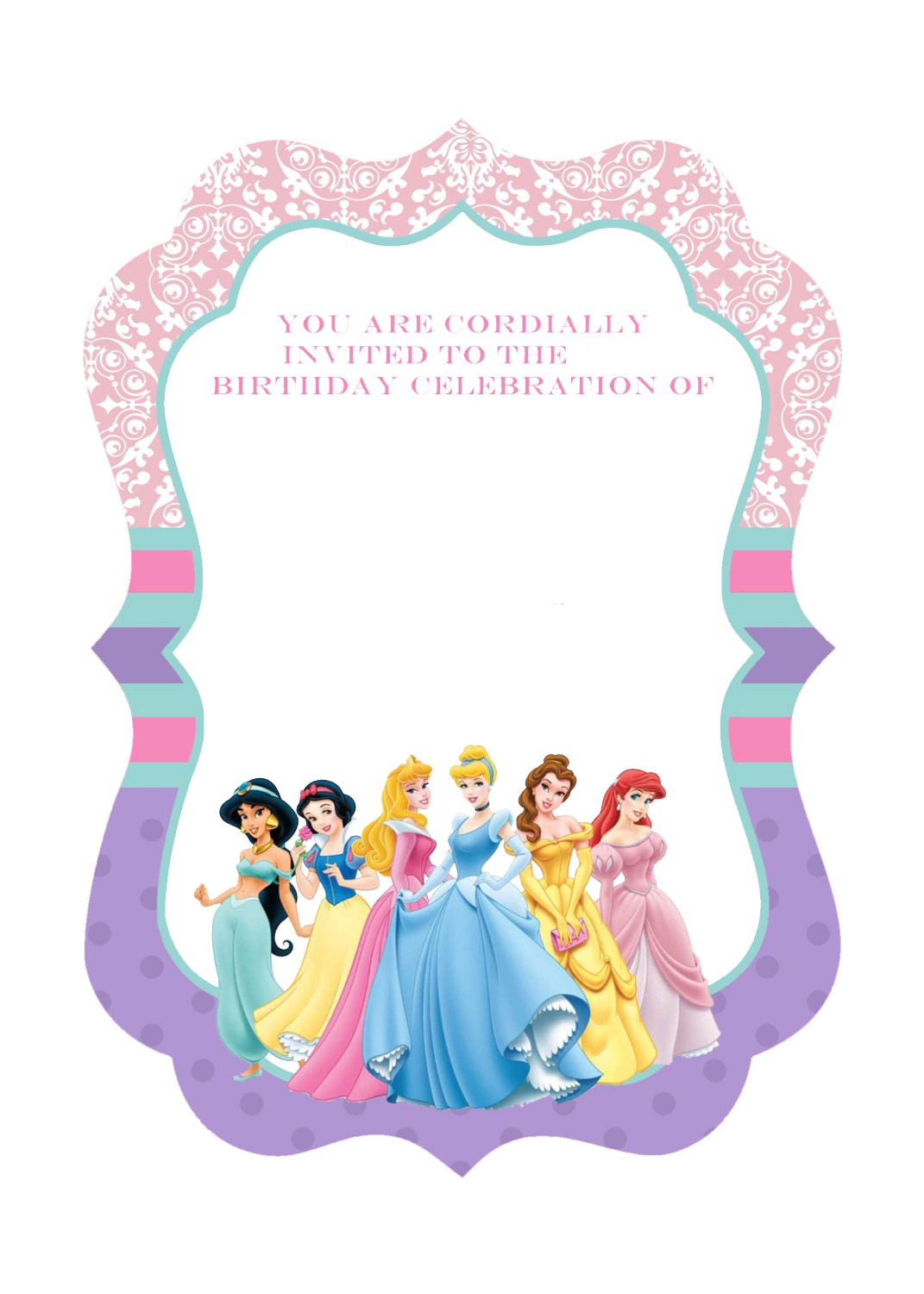 free printable ornate disney princesses invitation