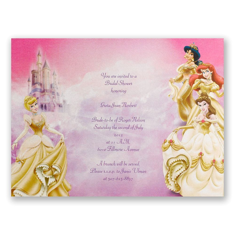 disney all the girls bridal shower invitation