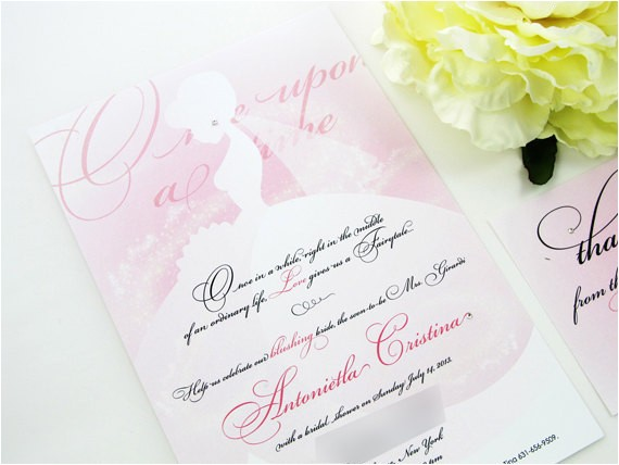 princess bridal shower invitation ombre
