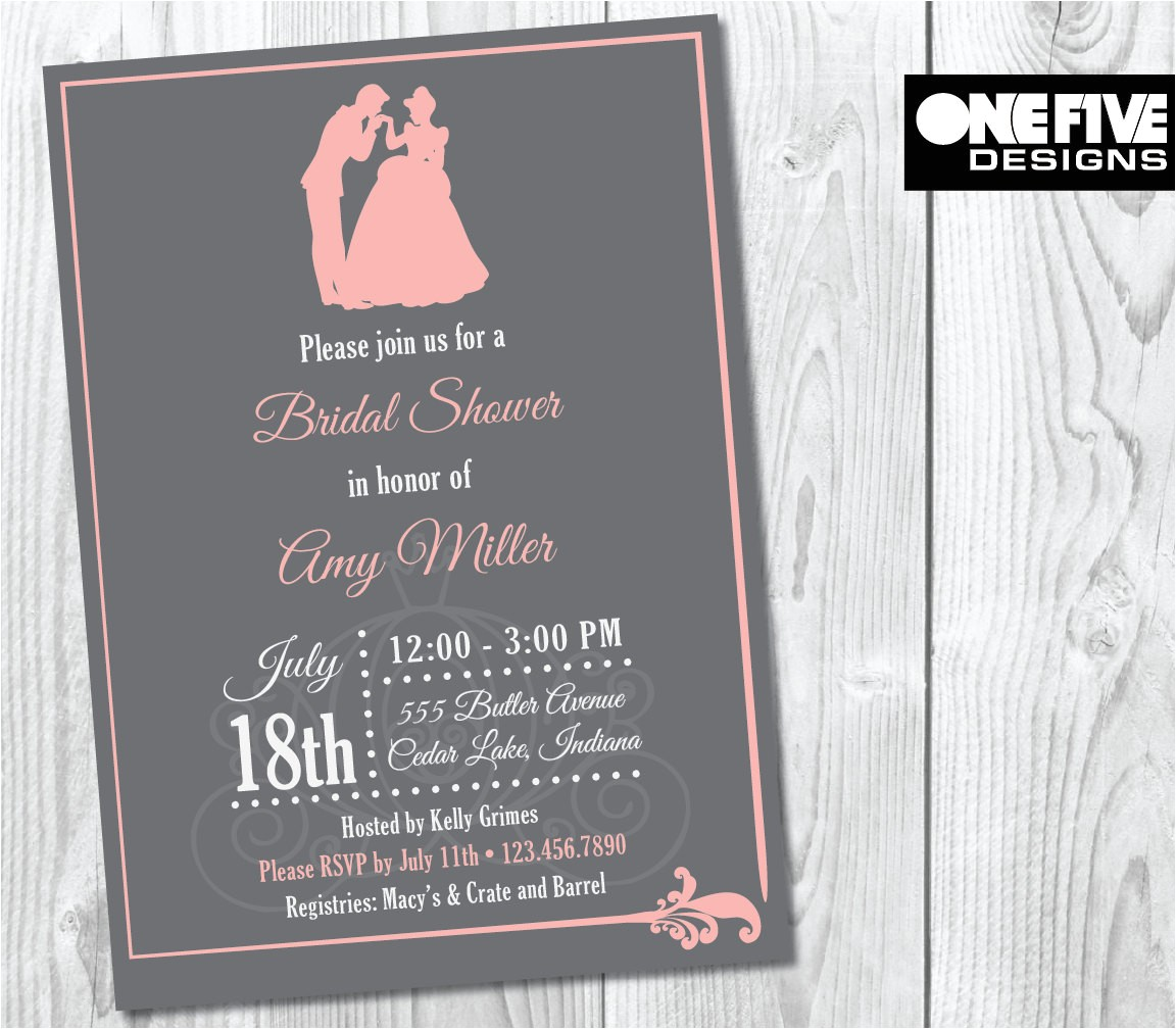 princess theme bridal shower invitation