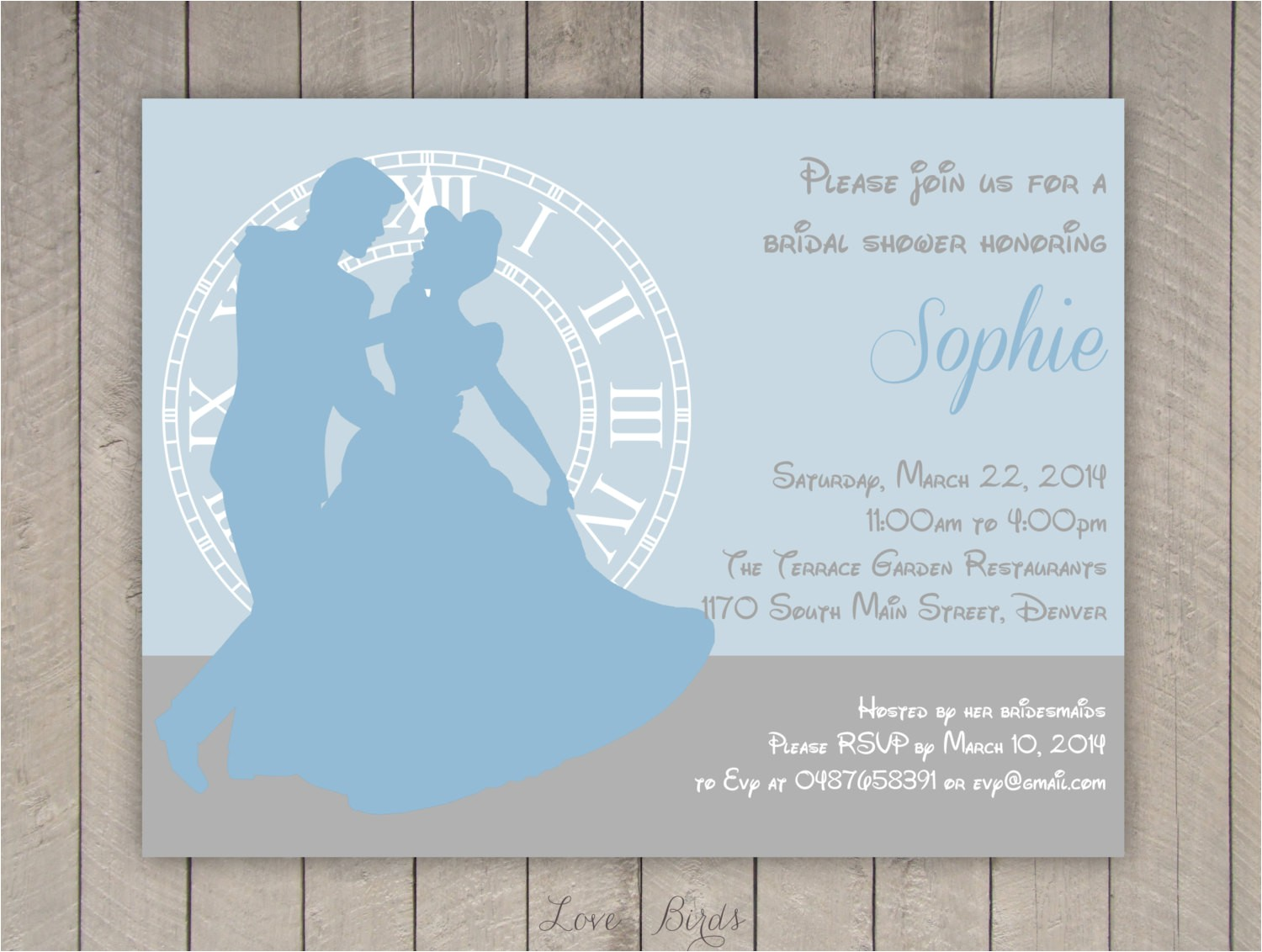 bridal shower invitation cinderella