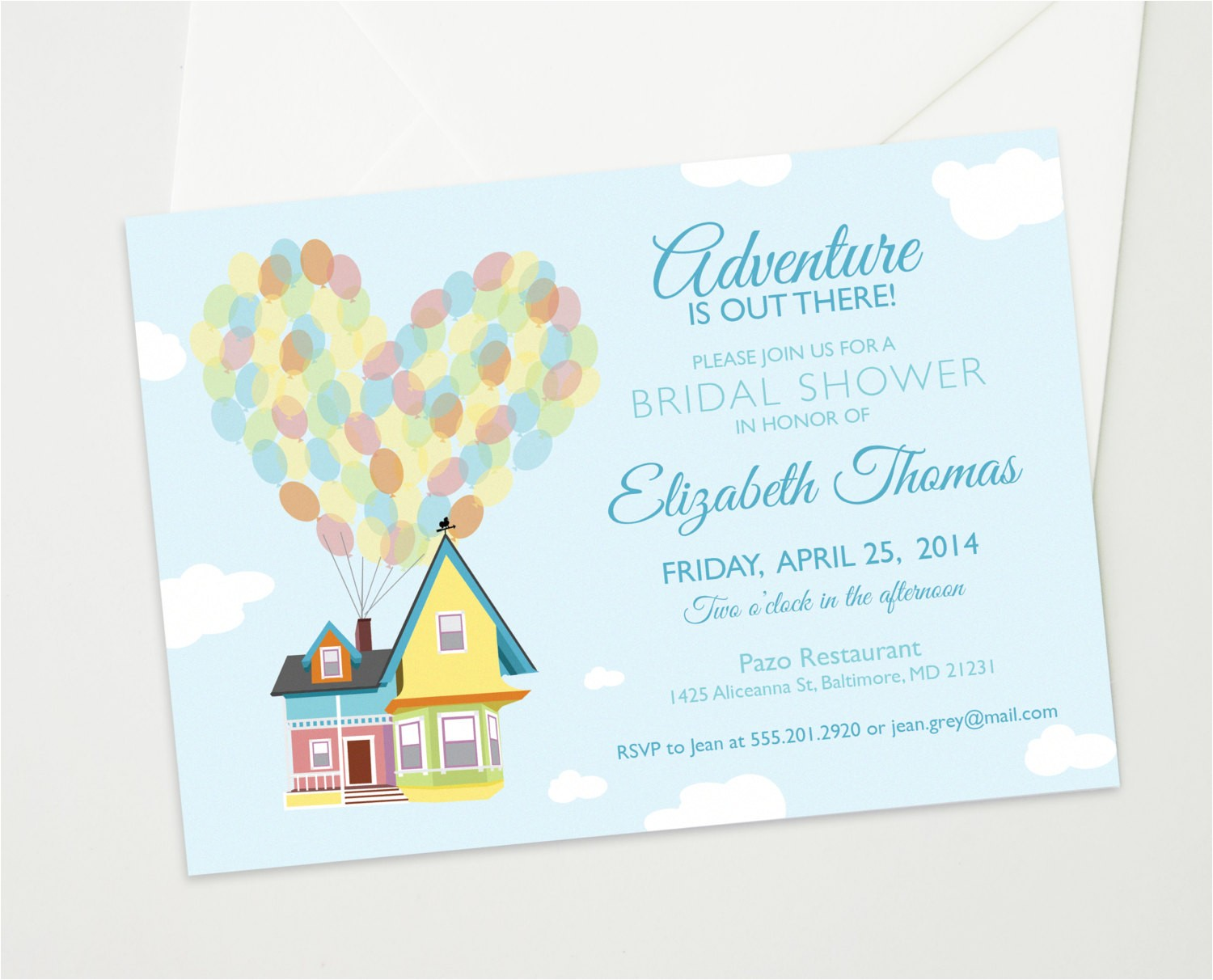 Disney Up Bridal Shower Invitations Disney Up Wedding Bridal or Baby Shower Custom by theinkedleaf