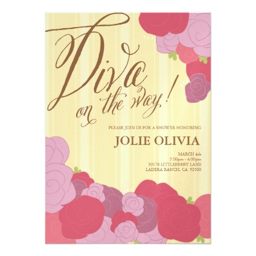 diva baby shower invitations
