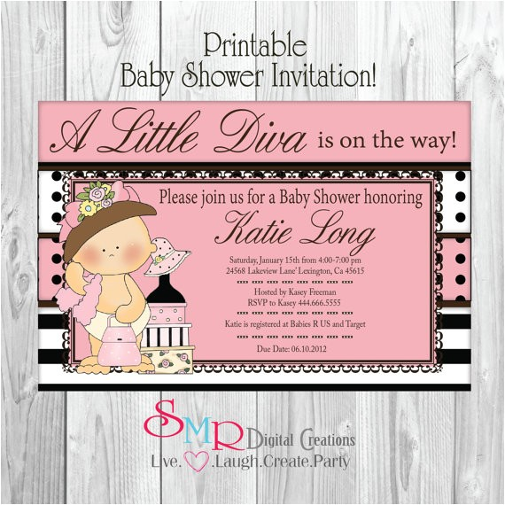 diva girl baby shower invitation little